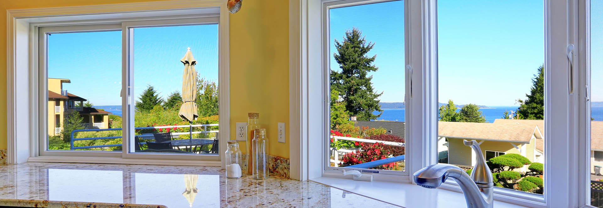 kitchen with window view